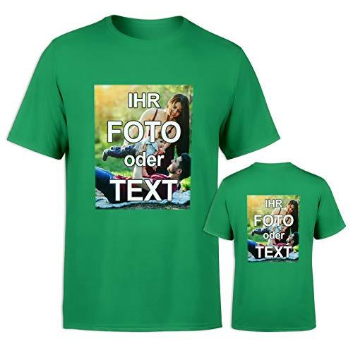 T-Shirt mit eigenem Foto Text Logo Name selbst gestalten * ringgesponnene Baumwolle * vollfarbig EINSEITIG Bedruckt * viele Farben, Farbe:Grün, Größe:XS