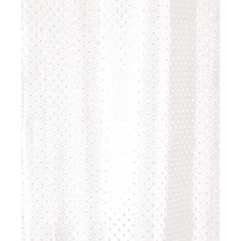 White Diamond Fabric Shower Curtain 180x180 Machine Washable   Weighted Hem    Rustproof Eyelets