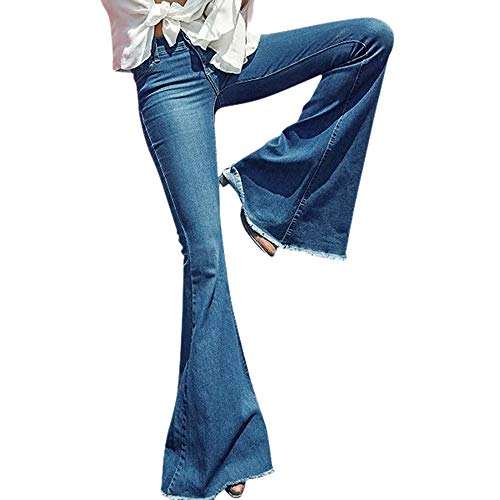 OYSOHE Damen Jeans Mid Waist Slim Fit Denim-Hose Baggy Pants Flare-Hose(Blau,Medium)