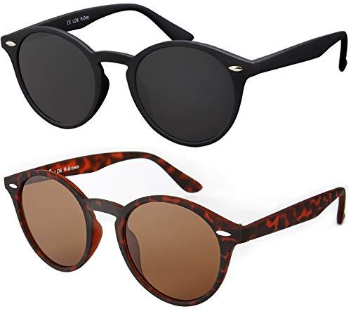 La Optica UV 400 Damen Herren Retro Runde Sonnenbrille Round - Doppelpack Rubber Gummiert (1 x Schwarz, 1 x Braun Horn)