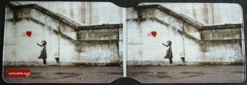 """Banksy Tasche / Hülle für Fahrausweis / Fahrkarte, Motiv """"Mädchen mit fliegendem Luftballon"""""""