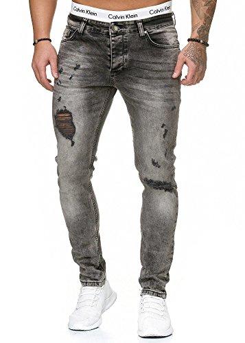 OneRedox Herren Jeans Denim Slim Fit Used Design Modell 5097 Grau 36/32