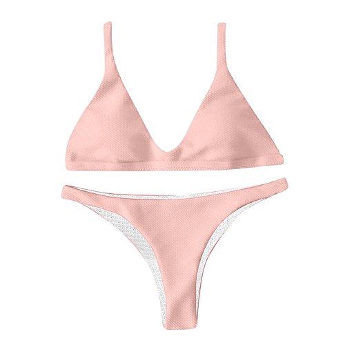 TWBB Damen 2 Piece Tankini Set Strap Solid Bikinis Triangle Bikini Set Badeanzug Tank Top Bikini SwimsuitsS wimwear Bademode Sommer Zweiteilig Push Up Bauchweg Bikini Set -