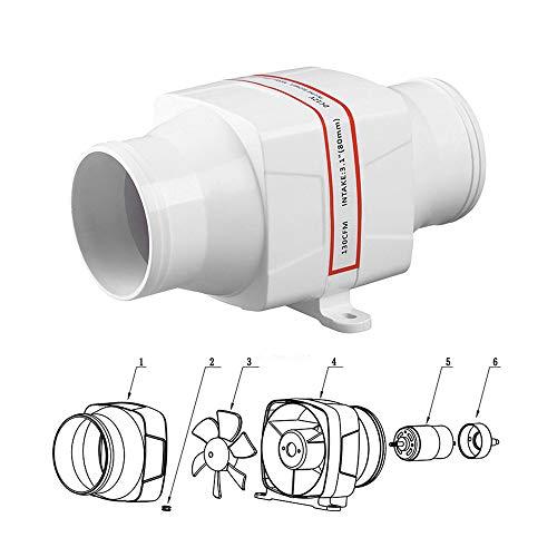 Elektrische Lüfter (HUKOER Elektrisches Inline-Gebläse 130 CFM 12V 3