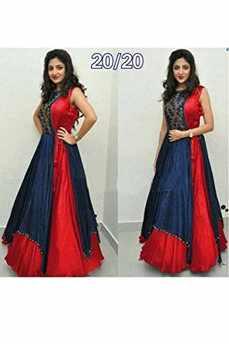 Women\'s Free Size Indo Western Dress color red ( Indo Westerns_Taffeta Silk_Free Size)