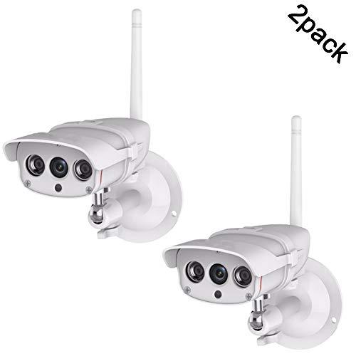 QLPP 1080P Outdoor-Kamera, Sicherheit IP-Kamera, Sicherheits-2-Megapixel-HD-Nocken, mit Nachtsicht, wetterfestem P67, Bewegungserkennungsalarm, Unterstützung ONVIF,2pack - 2pk Outdoor-wlan-kamera
