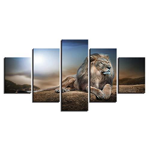 FHFHFHW Dekorative Modulare Gemälde Leinwand Malerei Wand Abstrakte Kunst 5 Platten Tier Lion Rahmen Für Wohnzimmer Schlafzimmer Drucke @ Frame_20X35 20X45 20X55Cm (Platte Tier -)