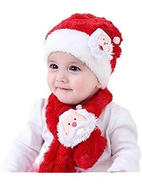 Yansion Weihnachtsmütze Schal Set, Coral Samt elastische rote Mützen Cap mit Santa Claus Muster Bequeme warme...