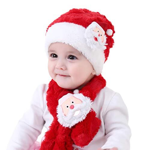 Yansion Weihnachtsmütze Schal Set, Coral Samt elastische rote Mützen Cap mit Santa Claus Muster Bequeme warme und geschmacklose Weihnachten verkleiden 1-4 Mädchen ()