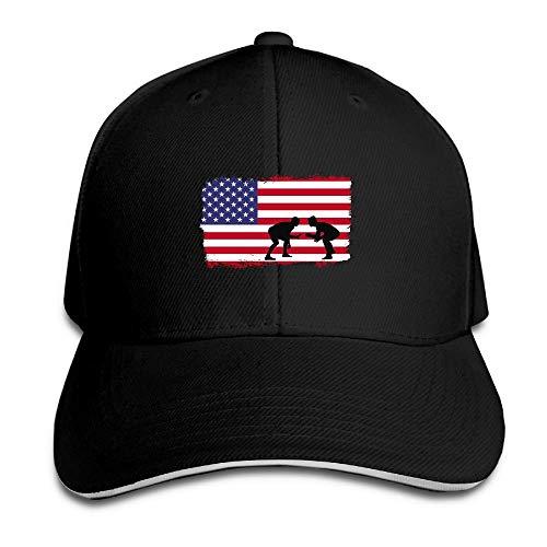 HujuTM Sandwich Cap American Flag Wrestling Durable Baseball Cap Hats Adjustable Peaked Trucker Cap