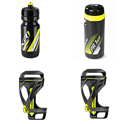 Raceone KIT Race KELA (4 PCS): Borraccia XR1 + Portaborraccia KELA + ToolBox PR1 ideale per Bici Race/MTB/Gravel/Trekking Bike. 100% MADE IN ITALY. Colore: Nero/Giallo