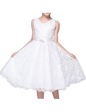 Bambini Principessa Vestito Pizzo Raso Fiore di Ragazza Abito da Sposa Bianca 7-8 anni Bianca 140CM