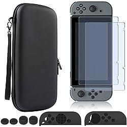 Nintendo Switch Custodia Vetro Temperato Kit Accessori, Hard Shell Portable Bag Cartucce+Pellicola 2 +Silicone Custodia Cartucce Gioco Joy-Con Case Cover & Copri Pulsanti Pollice,Viaggio Versione