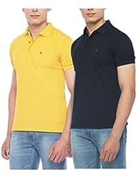 Digo Solid Men's Polo Neck Yellow, Dark Blue T-Shirt (Pack Of 2)