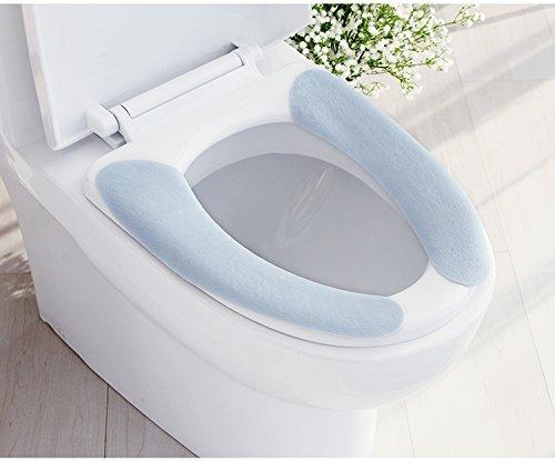 Lifechaser copriwater imbottito autoadesivo per wc, lavabile, caldo, confezione da 2, 1 azzurro e 1 rosa)