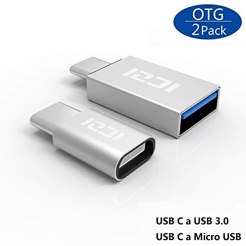 ICZI USB C auf Micro USB Adapter und auf USB 3.0 Adapter (2 in 1 Pack) mit OTG aus Aluminium für Samsung Galaxy S8/ S8+,MacBook Pro, MacBook usw. (Silber)