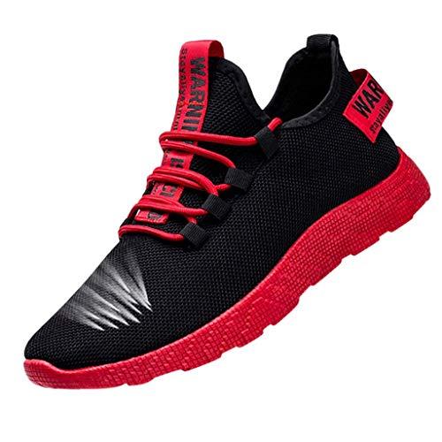 XiHone Homme Chaussures De Sport Multisports Compétition Trail Entraînement Course Running Baskets Pas Cher Flying Weaving Le Chaussures Tendance De La Mode Fond De Coussin d''air (Rouge)