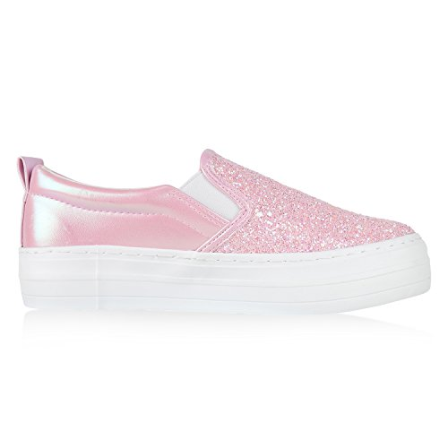 Japado Damen Schuhe Plateau Sneaker Slip-Ons Glitzer Metallic Sneakers Slipper Weiss White 38 xxe9MqtdLP
