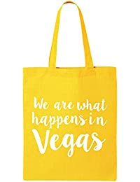 We Are What Happens In Vegas Cotton Canvas Tote Bag In Yellow - One Size