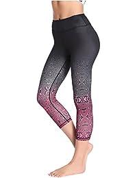 Kidsform Femme Leggings Capri Taille Haut Multicolore Pantalon de Yoga Fitness  Sport 8f2fa244915