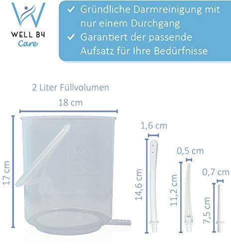 Well B4 Care Darmspülung Set 2 L, Einlauf Set für einen gesunden Darmeinlauf mittels Irrigator