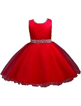 WanYang Niñas Sin Mangas De Cuello Redondo Vestidos Niños Elegante Vestido De Novia De Tulle Vestido