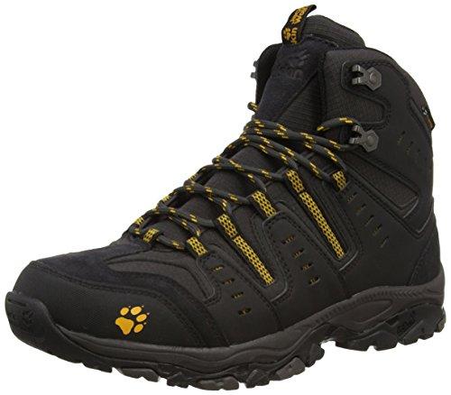 Jack Wolfskin MTN STORM TEXAPORE MID M, Herren Trekking- & Wanderstiefel, Schwarz (burly yellow 3800), 43 EU (9 Herren UK)