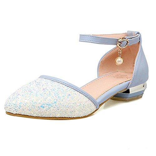 TAOFFEN Femmes Chaussures Mode Bloc Talon Bas Escarpins De Boucle De Briller Bleu