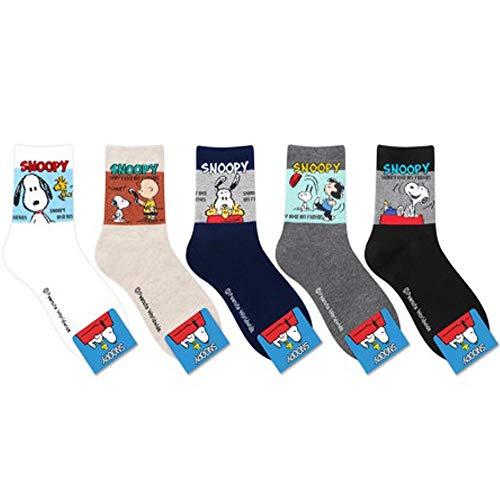 Die Peanuts Comics Charakter Mannschafts Socken mit Beutel Packung mit 5 Paaren - Charlie Brown, Snoopy, Woodstock, Lucy Van Pelt