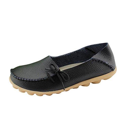 iLory Mocassins Femmes,Loisirs Confort Chaussures Plates Loafers en Cuir Chaussures de Conduite,16 Couleurs Noir