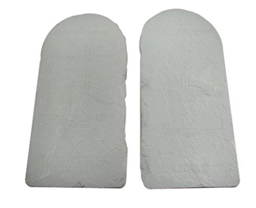Zeckos Stein Wand Skulpturen Zehn Gebote Stein Tablet Wandbehänge Grau Stone Finish 16,5x 33x 1,3cm Grau