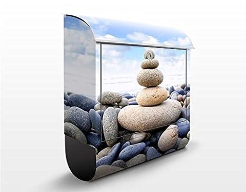 Design Briefkasten Garten Eden | Steine Paradies Balance Harmonie, Postkasten mit Zeitungsrolle, Wandbriefkasten, Mailbox, Letterbox, Briefkastenanlage, Dekorfolie