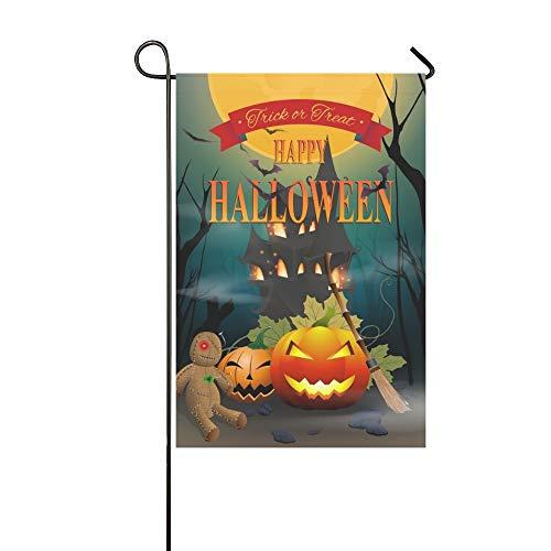 Home Dekorative Outdoor Doppelseitige Happy Halloween Night Party Voodoo Puppe Garten Flagge, Haus Hof Flagge, Garten Hof Dekorationen, saisonale Willkommen Outdoor Flagge 12 X 18 Zoll Frühling Sommer