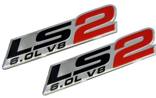 2x (pair/set) LS2 6.0L V8 Red Engine Emblems Nameplates Badges Highly Polished Aluminum Chrome Silver for GM General Motors Performance Chevy Chevrolet CHEVY CORVETTE SSR ZR1 2005 2006 05 06 PICK UP HOLDEN VAUXHALL CTSV Pontiac GTO Chevrolet Trailblazer SS 2006 2007 2008 2009 06 07 08 09 Saab 9-7X Aero (Zr1 Corvette Emblem)