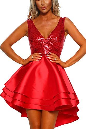 Ancapelion Damen Kleid Sexy V-Ausschnitt Mini Kleider mit Glänzend ärmellose Pailletten Schlank Kurz Ausgestellt Skater Kleider für Party/Abend/Verein/Cocktail/Formal (Rot, S(EU 36-38)) (Kleid Sexy Cocktail)