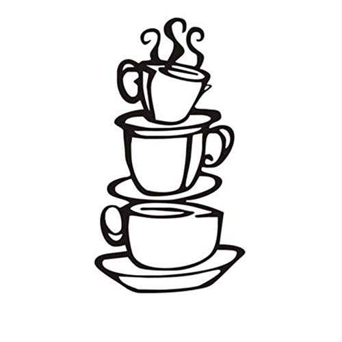 Zxfcczxf Kaffee Haus Tassen Neue Diy Entfernbare Wandkunst Aufkleber Vinyl Wandaufkleber Home Küche Kaffee Shop Dekoration Zubehör 18 * 38 ()