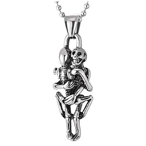 iMETACLII Vintage Abrazando Cráneo Esqueleto óseo Colgante, Calavera, Collar de Hombre Mujer, Acero, Bola Cadena 60CM
