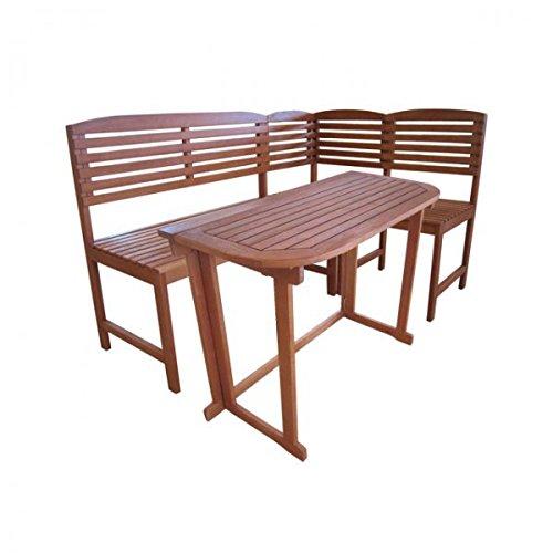 4tlg Balkonmöbel-Set ARUBA Gartenmöbel Sitzgarnitur Sitzgruppe Eukalyptus Holz