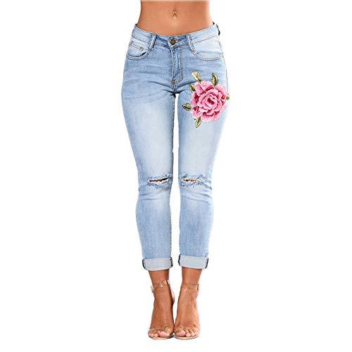 wyhweilong Damen Slim Fit Stretch bestickte Blumen Loch Jeans Frauen Floral Bedruckte hohe Taille Denim-Hosen (L, Hellblau) -