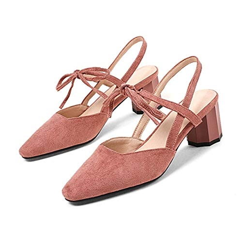 Fashion Slingbacks Sandals Women Round Block High Heels Ladies Sandals Square Toe Lace Up Party Dress Shoes 2018 Summer Pink 6