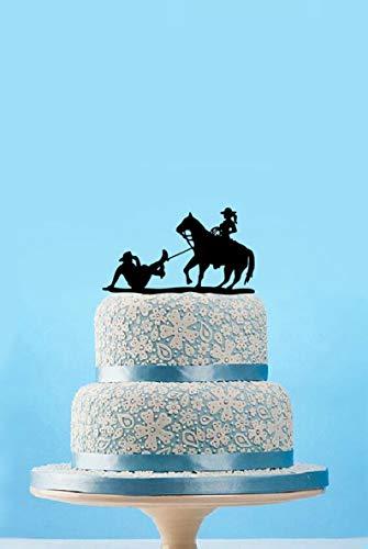 Dtrfloor Rustikale Hochzeitstorte Topper, Cowboy-Tortenaufsatz, personalisierbar mit Pferde-Kuchenaufsatz, witzige Hochzeitstorte Topper, einzigartige Kuchendekoration (Topper Hochzeitstorte Pferd)