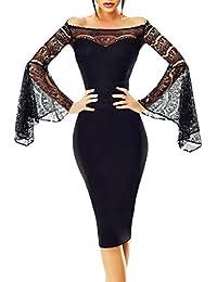 Toocool - Vestito Donna Miniabito Elegante Maniche Campana Pizzo Scollo  Barchetta DL-2230 c90014bcd3f