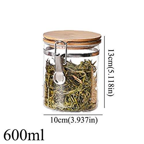 Xiaoyanyan contenitore per tè sigillato con coperchio set di bottiglie per uso domestico in vetro set di spezie per frutta secca contenitore sfuso sigillo di caramella 600mlb151