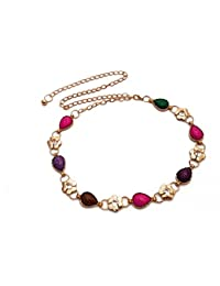 Vritraz New Fashion Style Gold Plated Chain Kamarband Metal Multi Color Crystal Pearl Rhinestone Waist Belt Waistband...