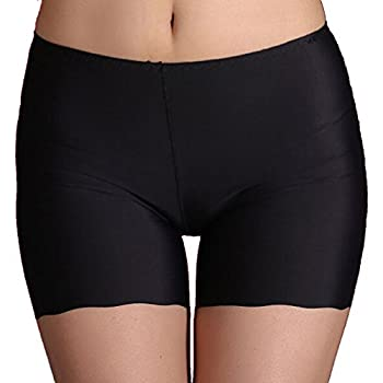 Amybria Women's Ice Silk Soft Stretch Safety Shorts Underwear Black 0