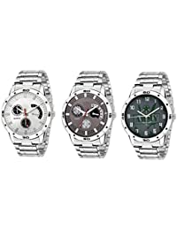 Om Day & Time Display Analog White And Black Dial Stainless Steel Men's Watch Set Of 3