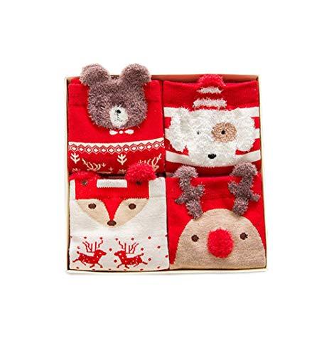 uempfe Satz von 4 Paar Cute Cartoon Baer Hirsch Schneemann Design Neuheit Baumwolle Winter Socken ()