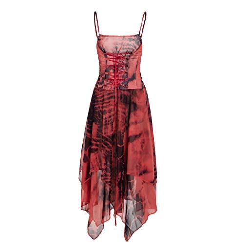ALISIAM Frauen-Sommer-reizvolle Art und Weiseunregelmäßige schnüren Sich Oben Korsett-Mieder-Taschentuch-Saum-Kleid (Kleid Taschentuch Saum)