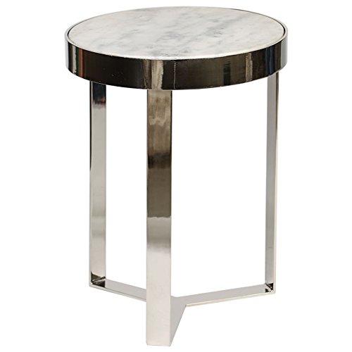 Knox and Harrison Minimalist Metall weiß granit Top Accent Tisch; Nickel poliert