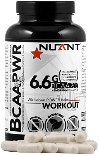 NUANT® - BCAA PWR | Mega Komplex aus essentiellen Aminosäuren & Vitamin B. Für Bodybuilder & Athleten | 180 Kapseln | 100% - VEGAN. | MADE IN GERMANY